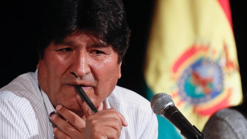 El expresidente de Bolivia Evo Morales durante una rueda de prensa