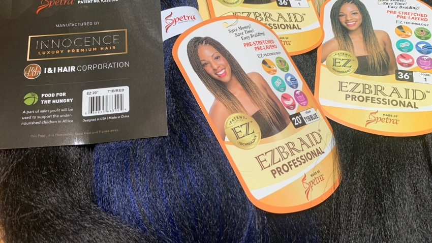 Samples of Pre-stretched Innocence EZBRAND Professional Antibacterial Braid hair extensions