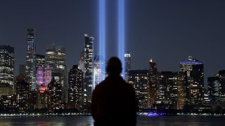 In this Sept. 11, 2019, file photo, the annual Tribute in Light illuminated on the skyline of lower Manhattan on the 18th anniversary of the 9/11 attacks in New York City as seen from Jersey City, New Jersey.