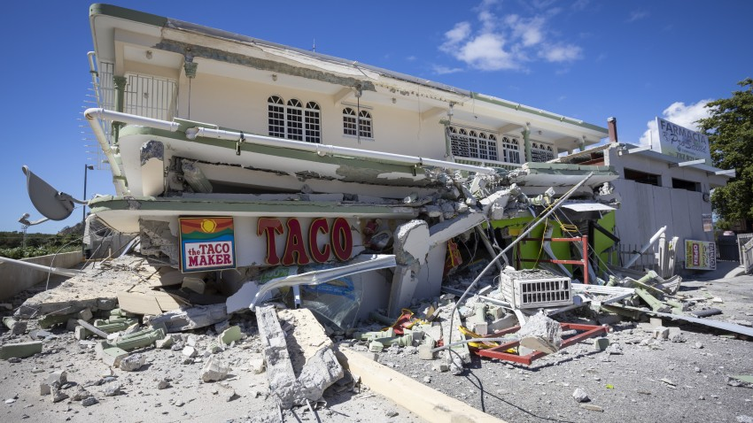 A view of damages at Guanica town after 6.4-magnitude earthquake hit Puerto Rico on Jan. 7, 2020.