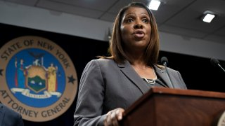 In this file photo, New York Attorney General Letitia James speaks during a press conference, June 11, 2019 in New York City.