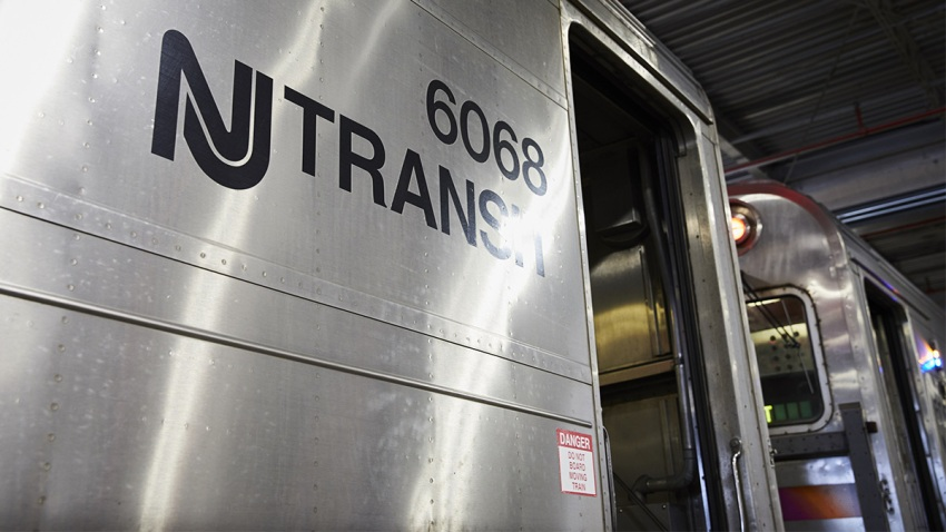 A New Jersey Transit train in Piscataway, New Jersey