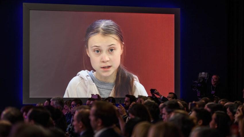 La activista Greta Thunberg habla durante el Foro Econòmico de Davos, Suiza en enero de 2020.