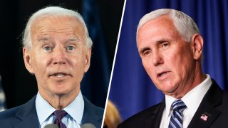 Democratic presidential candidate Joe Biden, left; Vice President Mike Pence at right.
