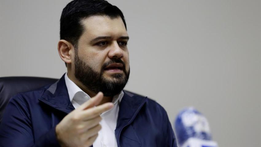 El ministro de Seguridad de El Salvador, Rogelio Rivas, habla durante una entrevista con Efe el 29 de mayo de 2020 en San Salvador (El Salvador).