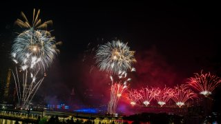 A view of the fireworks during the 43rd Annual Macy's 4th of July Fireworks on July 04, 2019 in New York City.