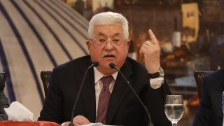 Palestinian President Mahmoud Abbas holds a press conference on Trump's so called peace plan in Ramallah, West Bank on January 28, 2020.
