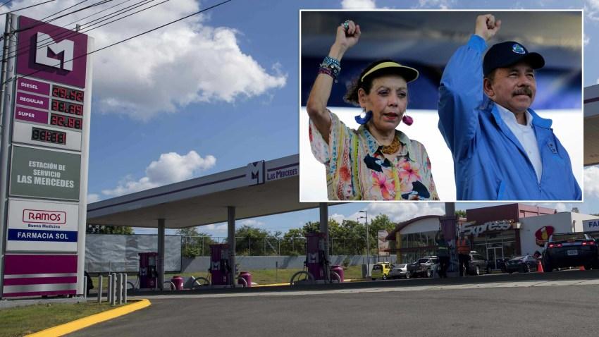 Vista a una de las estaciones de servicios que pertenecen a la familia Ortega-Murillo, que hacen parte de las empresas sancionadas por EEUU, en Managua.