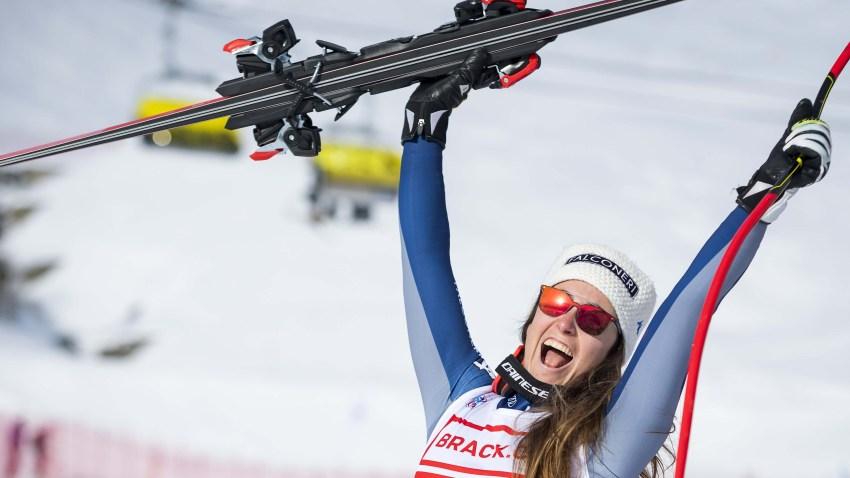 La italiana Sofia Goggia durante la prueba en la estación suiza de St. Moritz.