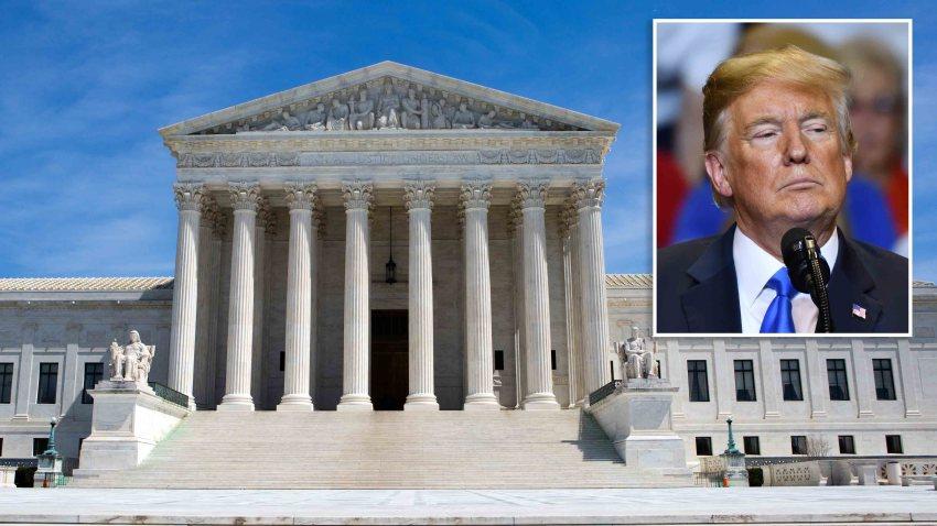 Combinación de fotografías del edificio de la Corte Suprema de Estados Unidos y del presidente Donald Trump.