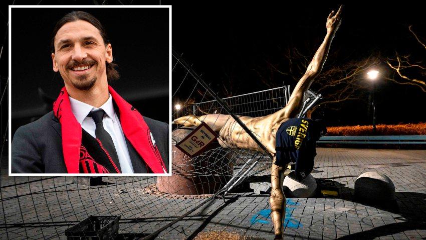 La estatua de Zlatan Ibrahimovic fue derribada en Malmo, Suecia.