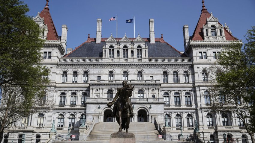 The New York State Capitol building stands in Albany