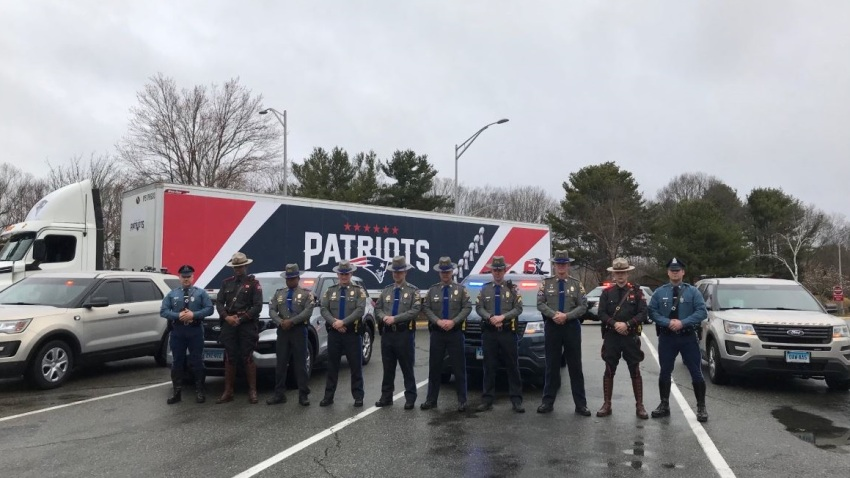 State Troopers from Massachusetts, Rhode Island, and Connecticut are escorting a Patriots tractor-trailer full of N95 masks destined for New York.