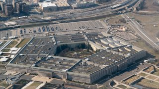 This photo taken on Feb. 9, 2020, shows the Pentagon from an airplane over Washington, D.C.