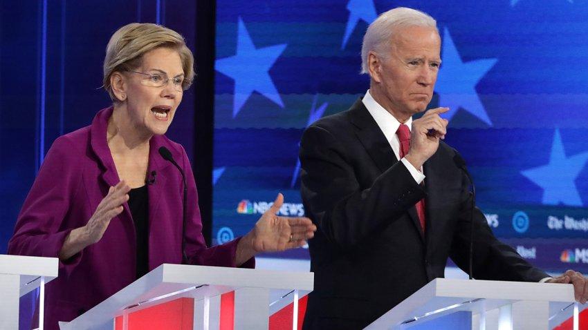 En la foto, la senadora Elizabeth Warren y el exvicepresidente Joe Biden.