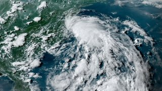 A storm system hovers off the coast of Virginia on July 9, 2020, at approximately 6 p.m. eastern time. The National Hurricane Center say the storm may be the first named storm of the season: Tropical Storm Fay.