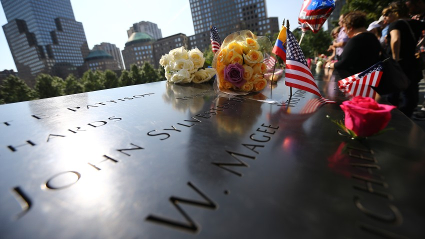 Flowers replaced over the monument for the 9/11 attacks victims