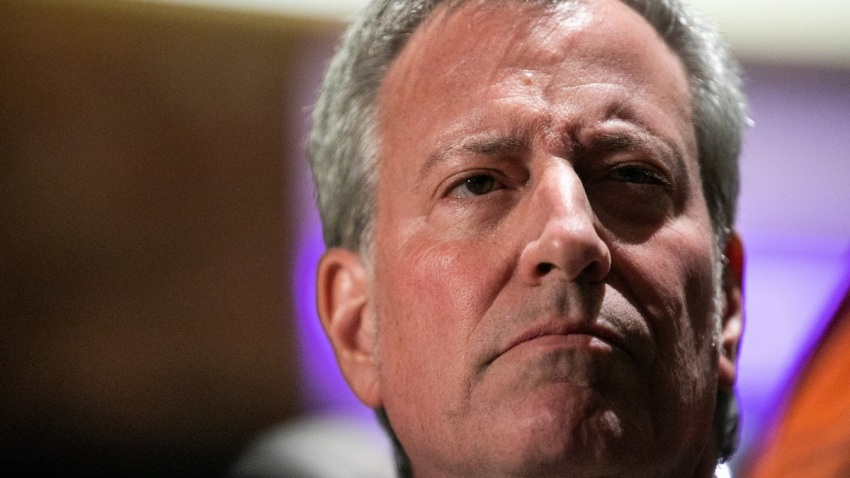 Close up of New York City Mayor Bill de Blasio