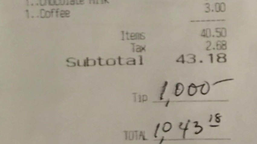 Customer leaves $1,000 tip for Jersey Shore restaurant workers