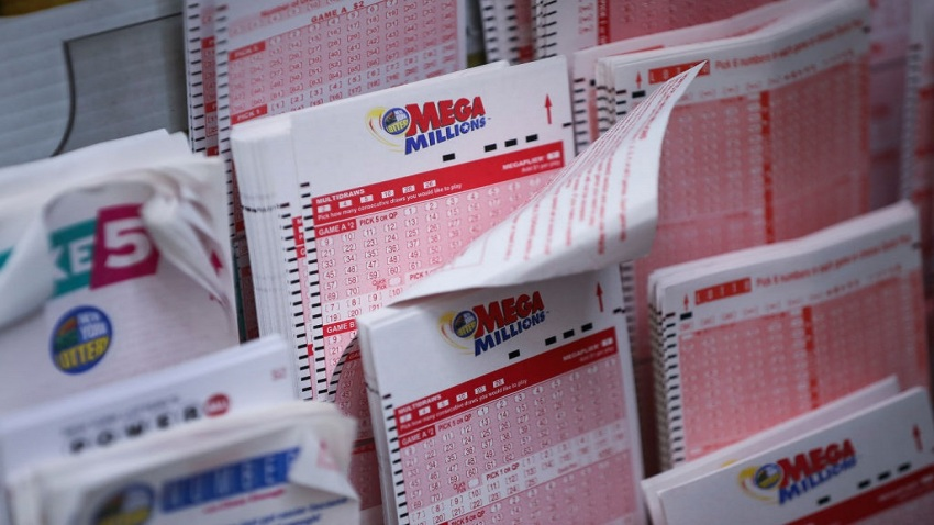 Mega Millions lottery tickets sit inside a convenience store in Manhattan
