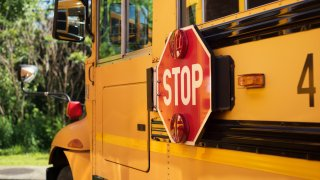 A close up of a yellow school bus