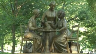 A bronze statue depicting women's rights pioneers Sojourner Truth, Elizabeth Cady Stanton and Susan B. Anthony was unveiled in Central Park