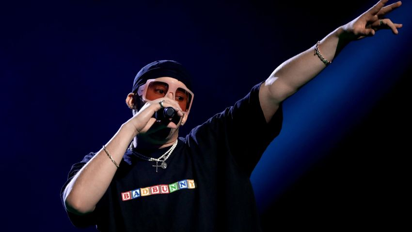 In this March 5, 2020, file photo, Bad Bunny performs onstage during the 2020 Spotify Awards at the Auditorio Nacional in Mexico City, Mexico.