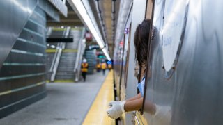 conductor aboard train at new york city statin