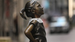 """Wall Street's """"Fearless Girl"""" statue wears a lace collar in memory of the late Supreme Court justice Ruth Bader Ginsburg"""