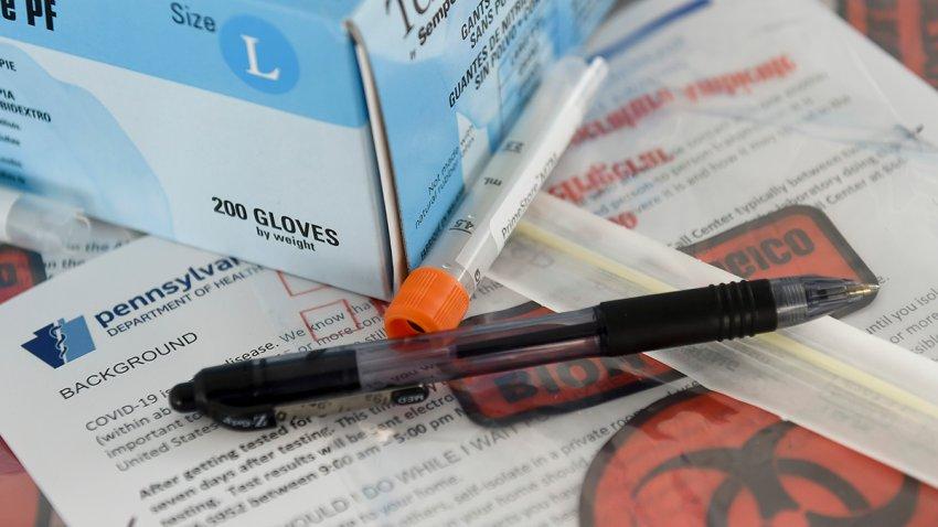 A coronavirus test in Pennsylvania