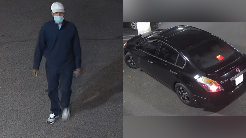 Left: A man wearing blue pants and a blue sweater, as well as a white cap and a face mask, walks. Right: A black Nissan Altima