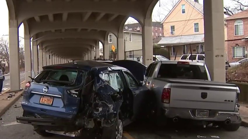Police said a gray 2011 Dodge ram was speeding down Rockaway Freeway and crashed into a 2018 Nissan Rouge driven by a married couple