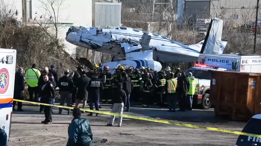 A small twin-engine plane crashed Sunday afternoon near a Long Island airport