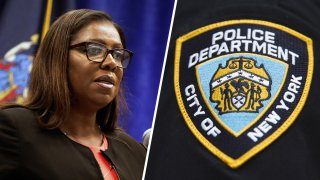 New York Attorney General Letitia James, left; the patch of the New York City Police Department, right.