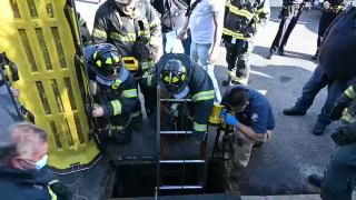 A man in his 90s when rescued Saturday after falling about 10 feet down a storm drain on Long Island, New York, firefighters said