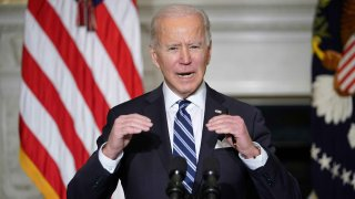 President Joe Biden speaks on climate change, creating jobs, and restoring scientific integrity before signing executive orders in the State Dining Room of the White House in Washington, D.C., on January 27, 2021.