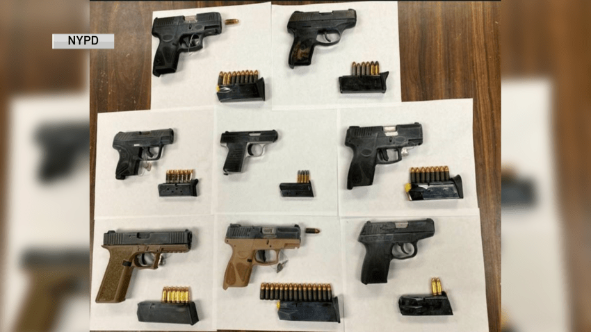 Police in Brooklyn recovered at least eight firearms from a party bus celebrating an 18th birthday, sources said
