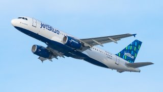 A JetBlue Airways Airbus A320-232 takes off from Los Angeles international Airport on Jan. 13, 2021 in Los Angeles, California.