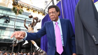 Elgin Baylor looks on during the statue unveiling at STAPLES Center on April 6, 2017 in Los Angeles, California.