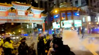 dc chinatown protest smoke