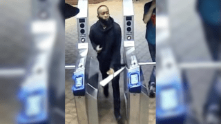 Police sources released the image of a man wanted for shoving a 35-year-old Asian man onto subway tracks.