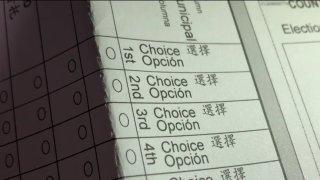 A ranked choice ballot