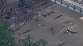 A skate park sits empty on the Lower East Side after a man was found stabbed to death.