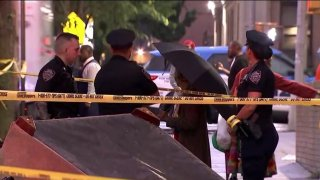 Police in the Bronx investigate two shootings that left a total of five injured.