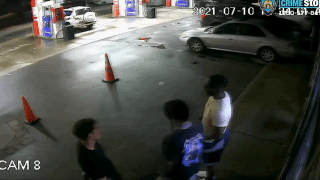 Police say surveillance video shows three men wanted in connection to a carjacking at a Harlem gas station.