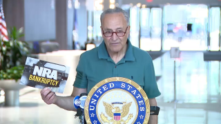 Sen. Chuck Schumer, speaking to reporters Sunday, highlighted a $2 million advertising blitz the NRA announced in April.