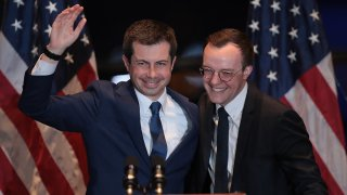 FILE - Pete Buttigieg and husband Chasten at the Century Center on March 1, 2020, in South Bend, Indiana.