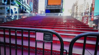 A View of Times Square red steps entirely closed down and