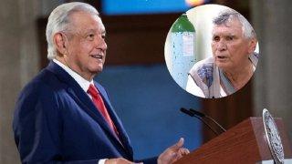 Composición fotográfica con López Obrador y en un círculo pequeño la imagen de Miguel Ángel Félix Gallardo