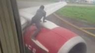 Terror: hombre sube a turbina de avión a punto de despegar